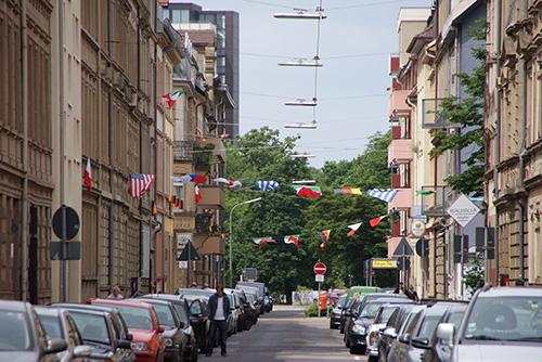 Fußball WM 2010 Fahne Augartenstraße