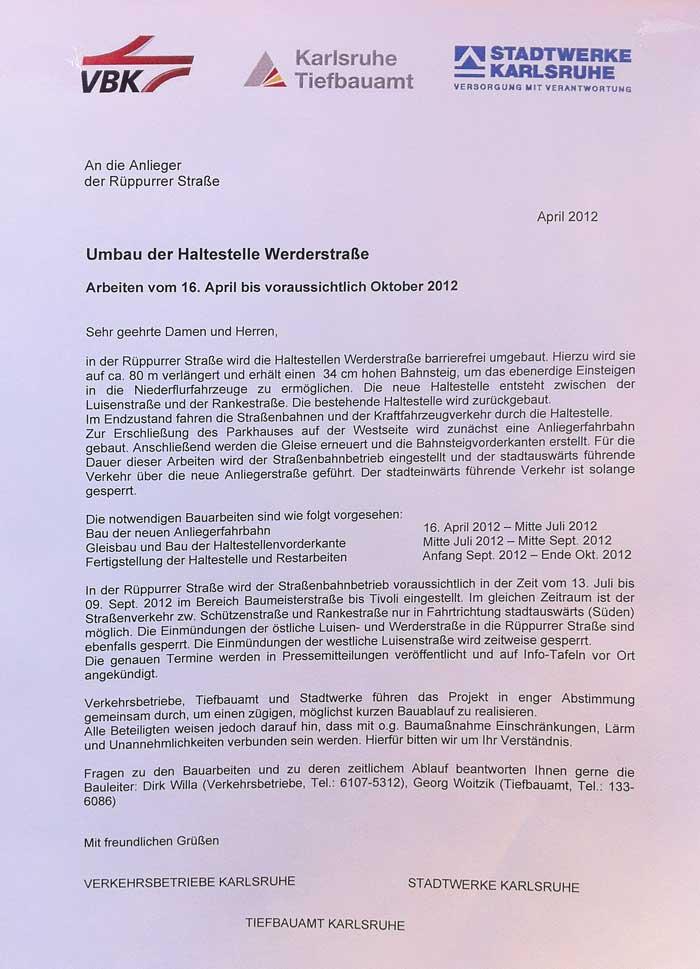 """Baustelle in der Rüppurrerstrasse: """"Haltestelle Werderstrasse wird verlegt"""""""