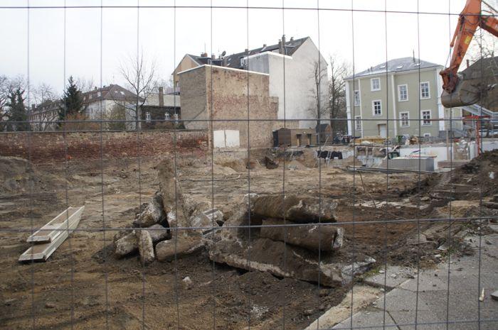 Abriß und Bau auf dem ehemaligen Areal des evangelischen Kindergartens Augartenstraße Ecke Rüppurrerstraße