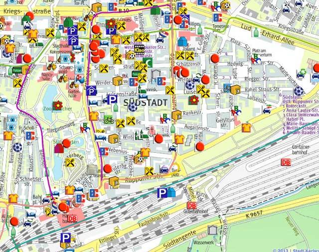 Stadtkarte Südstadt der Stadt Karlsruhe